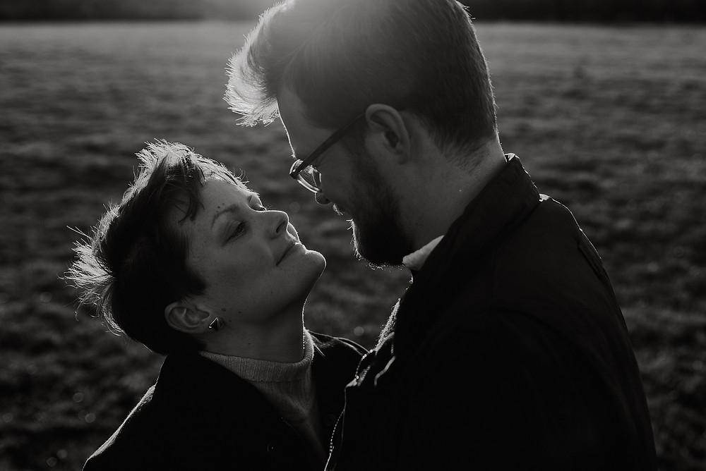 sunset black and white couple shoot