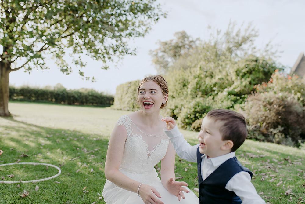 candid photo of bride at sulgrave manor wedding
