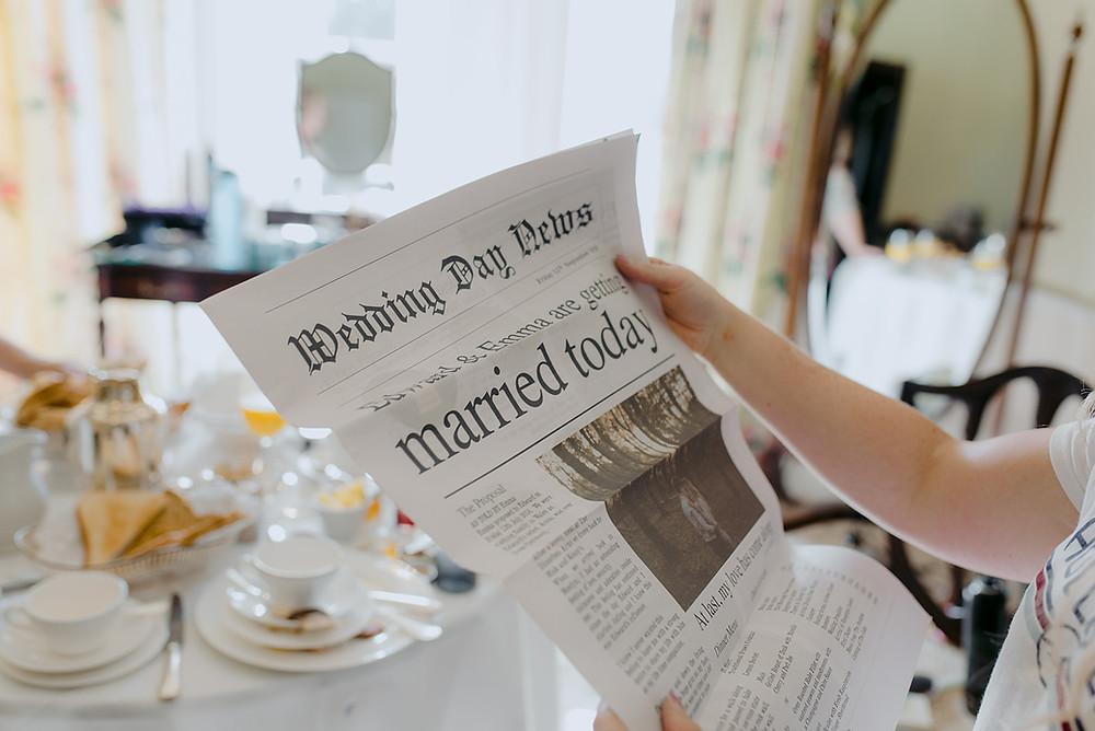 wedding day newspaper morning