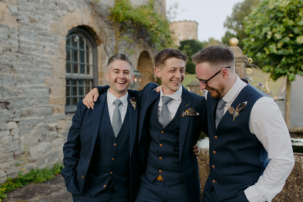 natural photograph of groom and best men