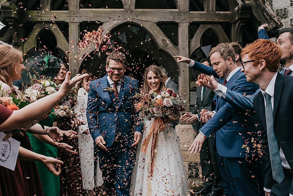confetti bride and groom Frome