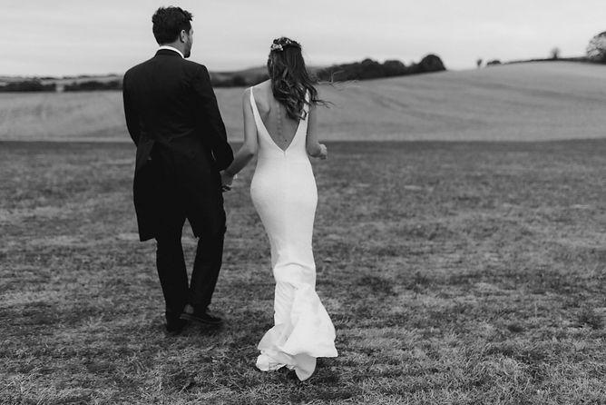 outdoor wedding bride and groom editorial