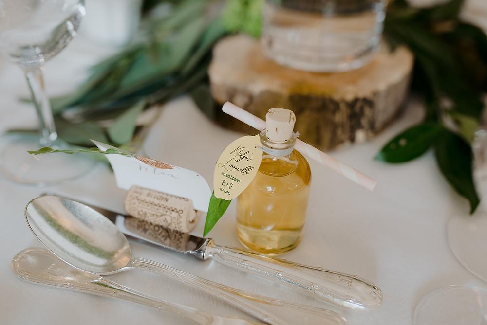 limoncello wedding favour mini glass bottle