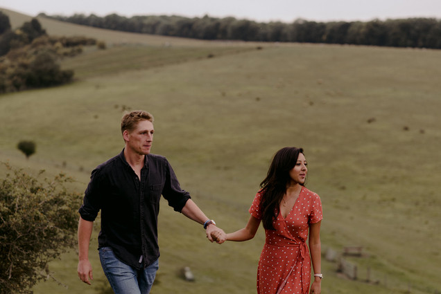 natural shot of couple in field