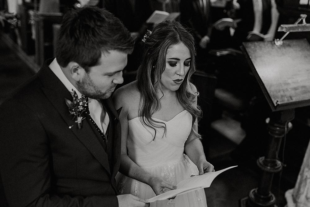 bride and groom singing hymns