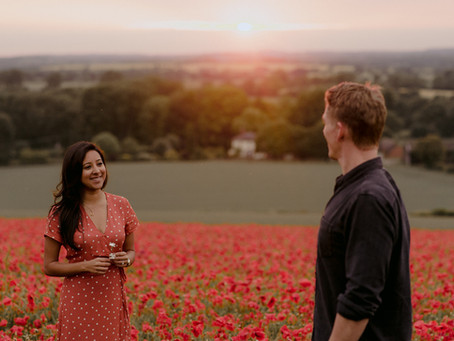 Adventure Couple Shoot with Poppy Field / Oxfordshire Wedding Photographer