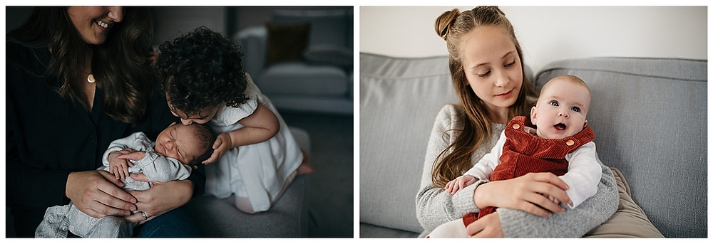 newborns with siblings, natural newborn photographer, photoshoots at home, leamington photographer