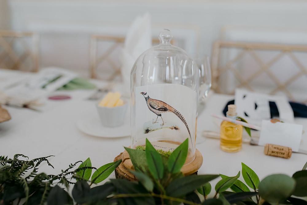 bell jar wedding table decor pheasant