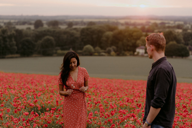 sunset poppy field engagement photography