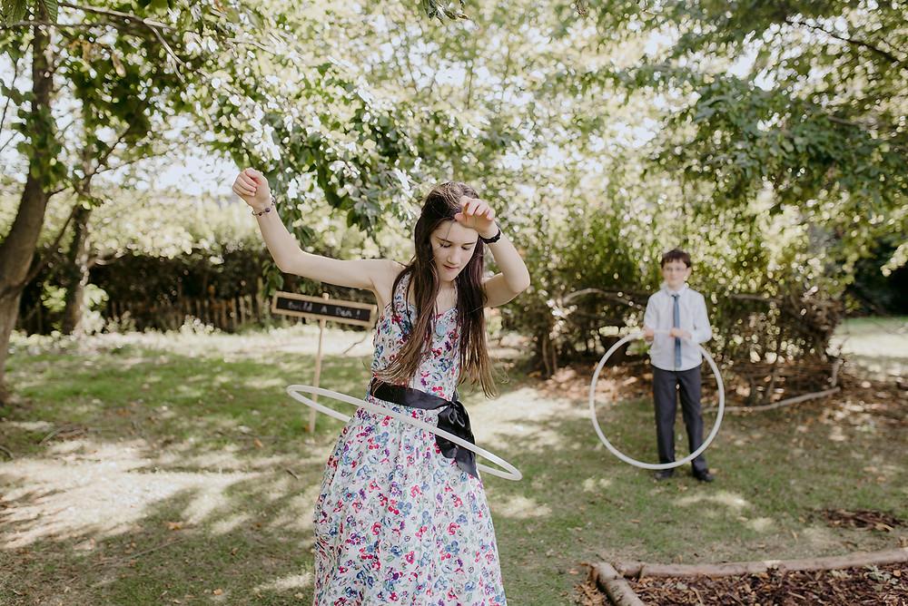 hula hooping at wedding