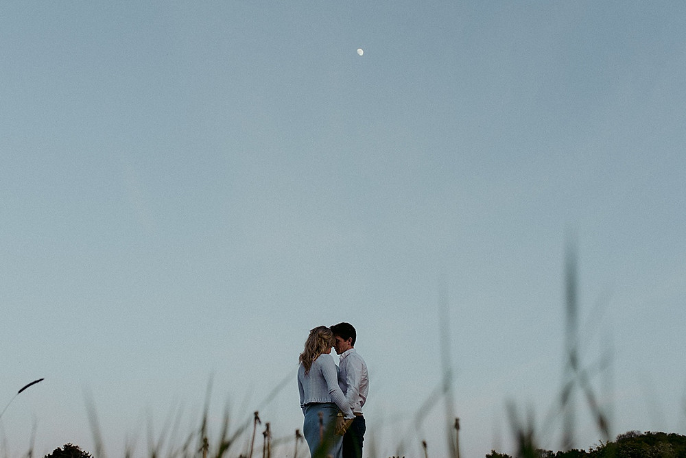 minimal wedding photography with moon
