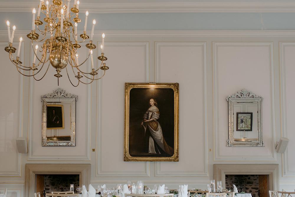 manor house wedding breakfast chandelier