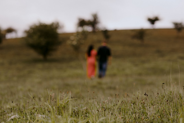 out of focus couple in field