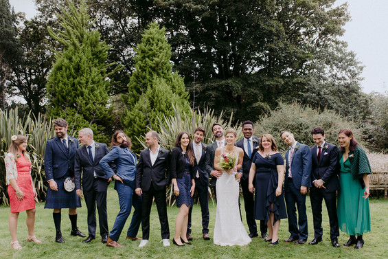 relaxed group photo of wedding guests