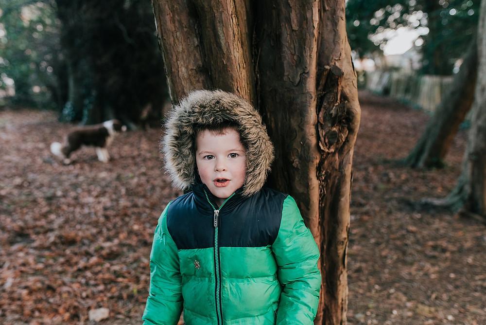 boy playing hide and seek behind tree