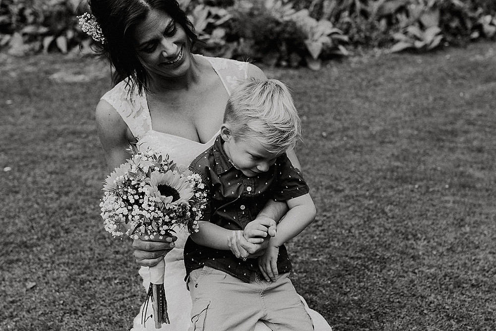 bride and son photograph black and white