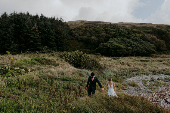 adventure couple wedding day forest
