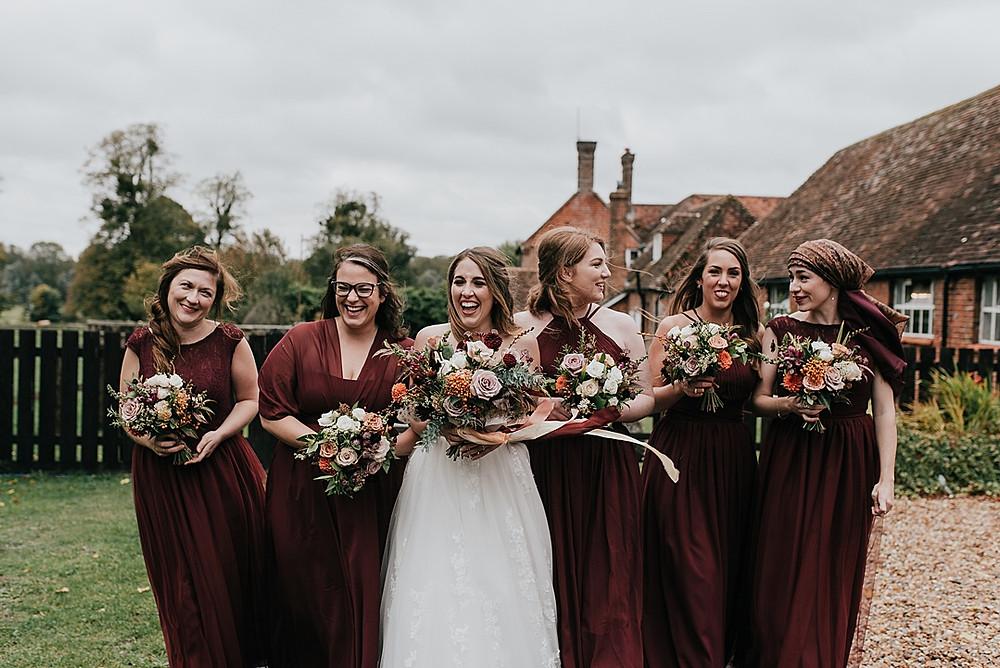 beautiful burgundy bridesmaids