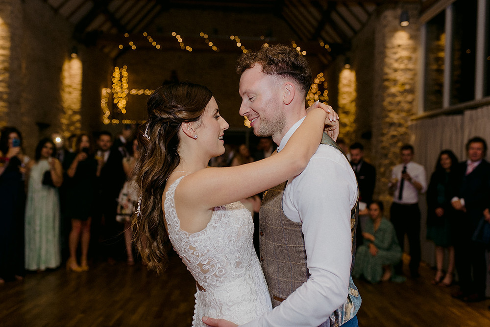 first dance photo in the great barn aynho