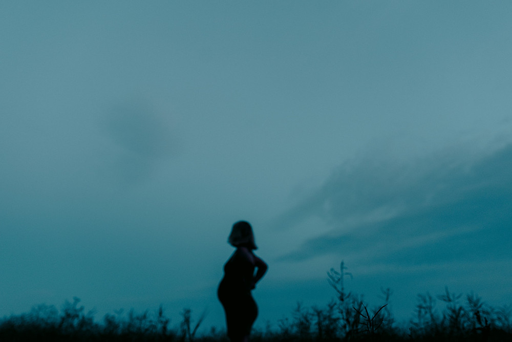blue hour pregnancy silhouette