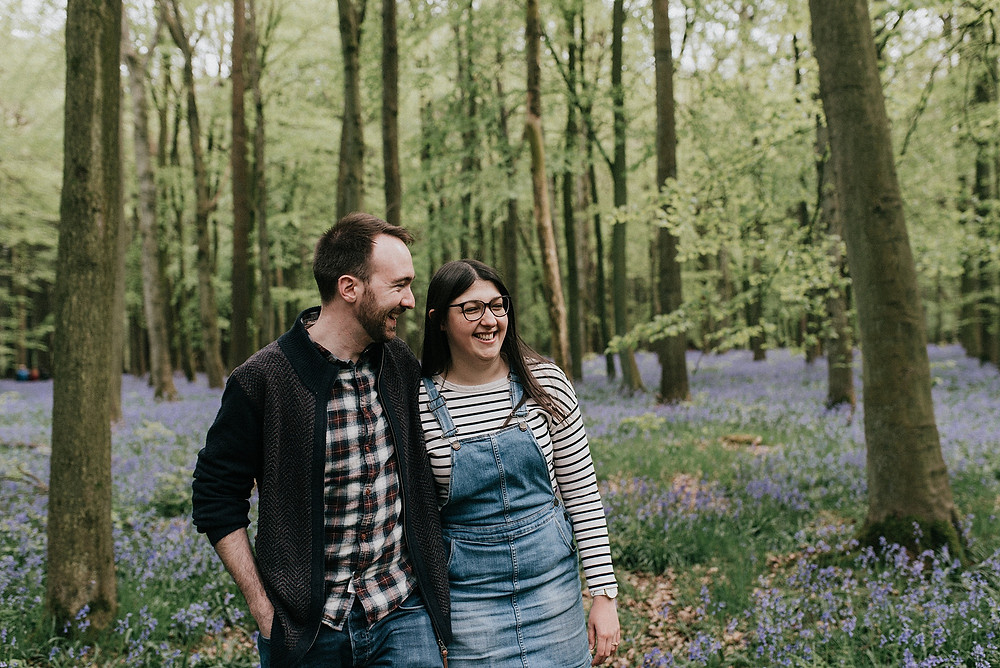 documentary engagement shoot in woodland