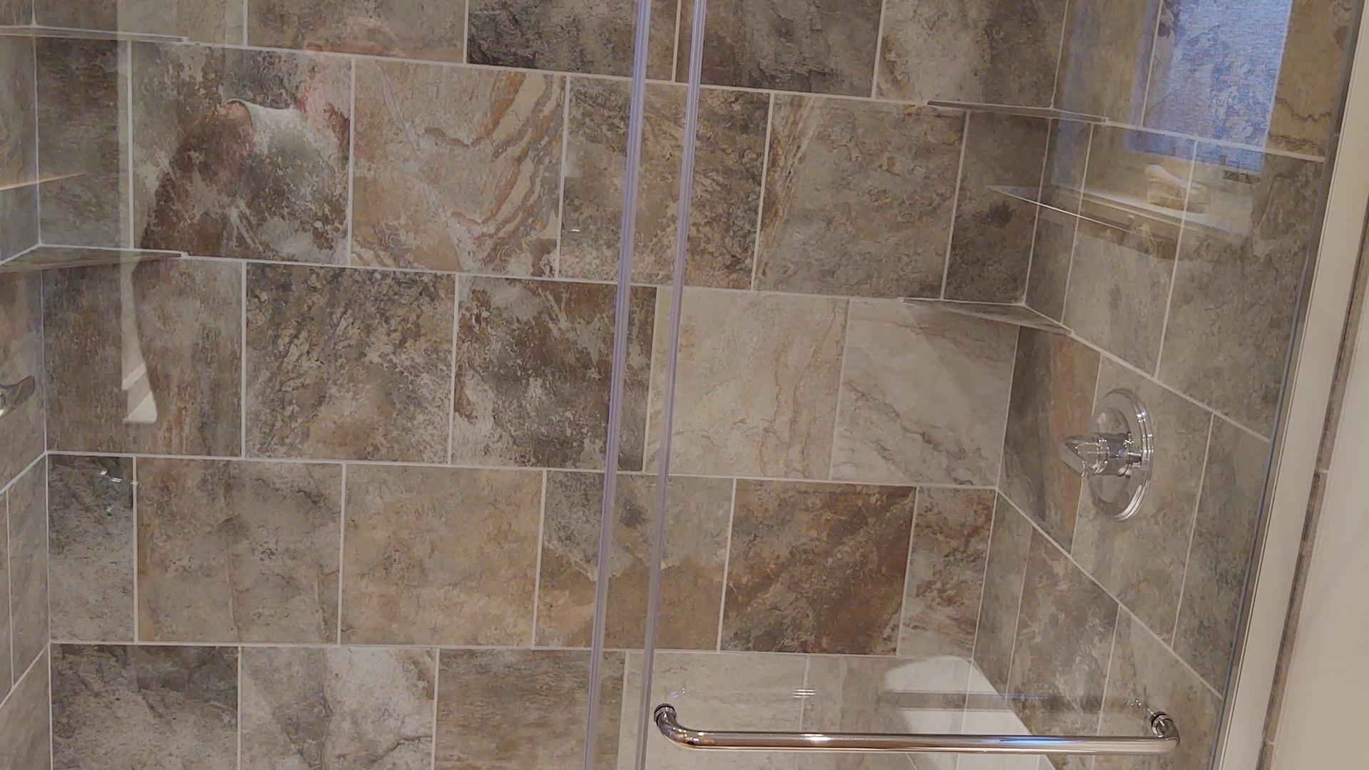 Tile Shower with Two Shower Heads