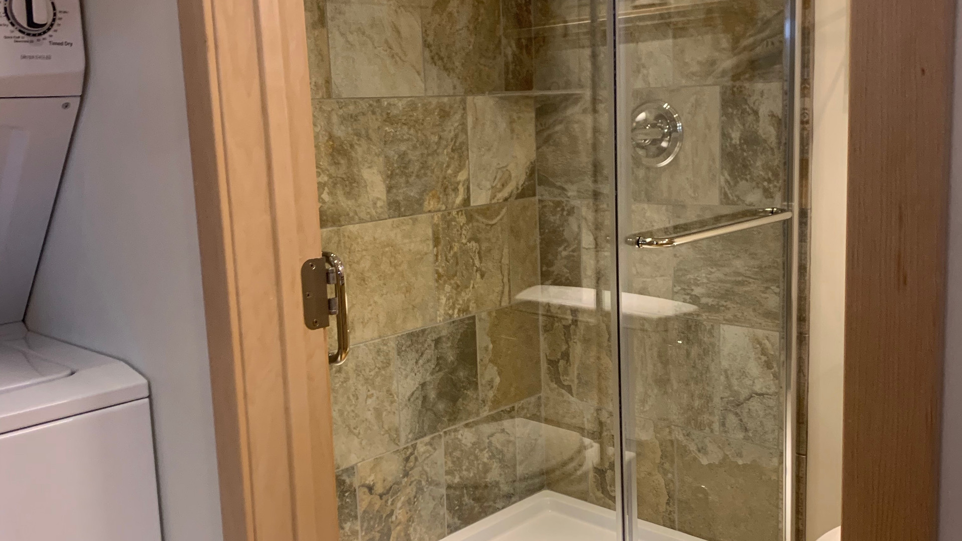 Big Tile Shower with Two Heads