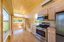 Kitchen with french doors open