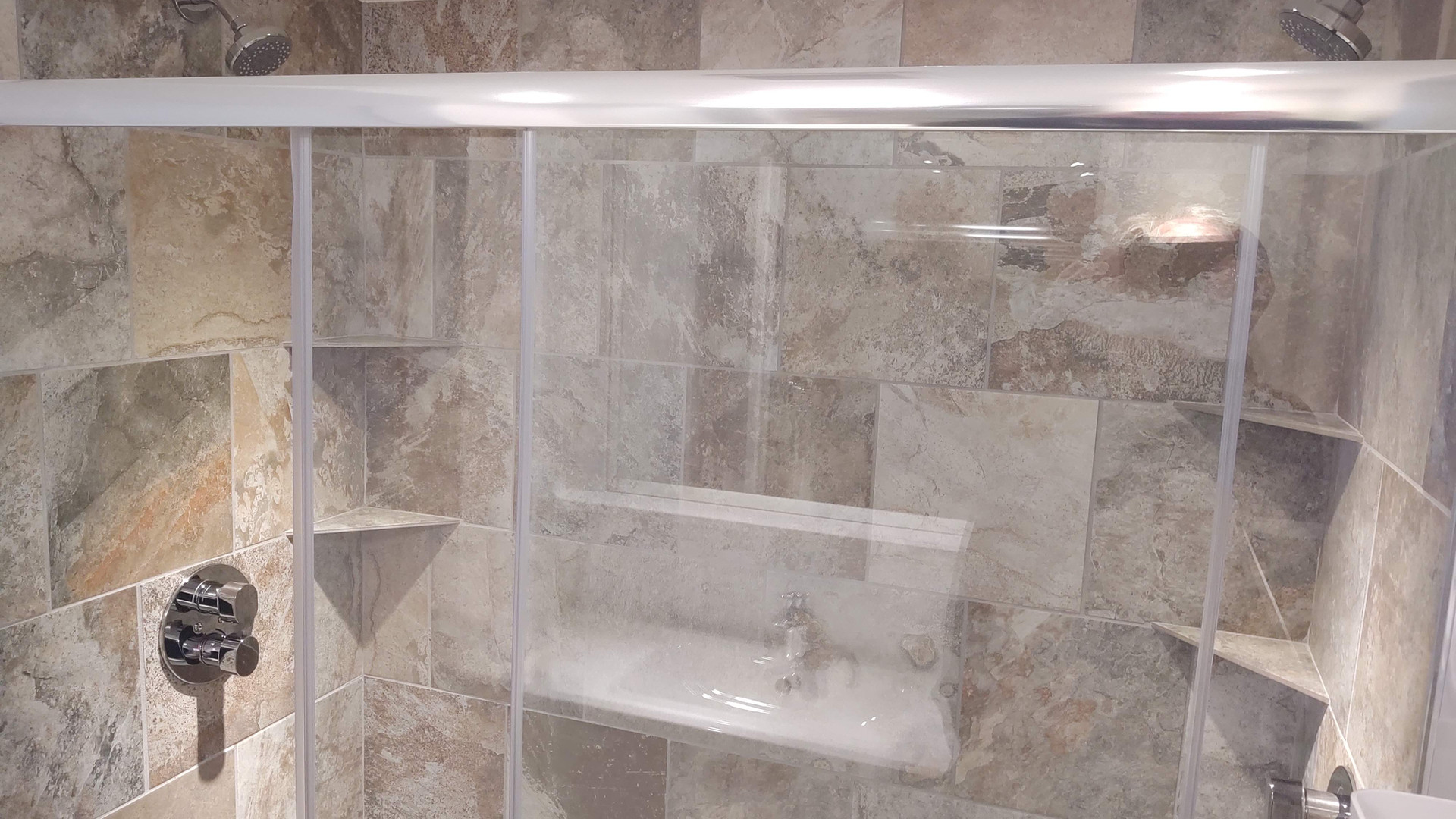 Tile Shower with Two Heads