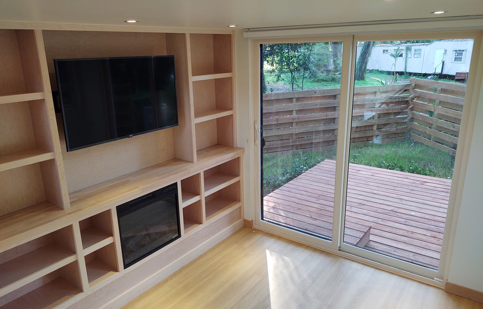 Entertainment Center with Smart TV + Fireplace