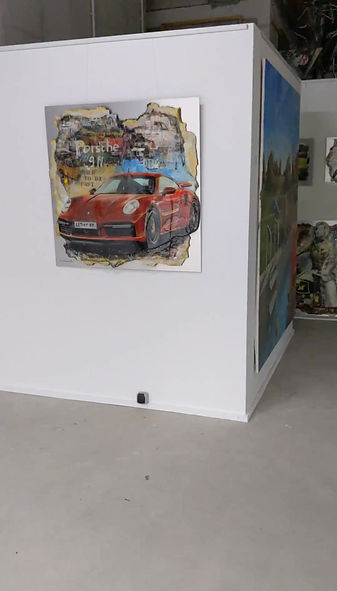 Porsche 911 3D Mixed Media auf Aluminumplatte