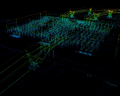 Substation Power Line LiDAR Point Cloud