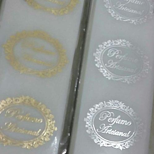 Etiqueta Perfume Artesanal transparente oval com 100 unidi