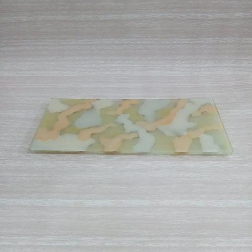 Bandeja de vidro Obra de arte bege 044307