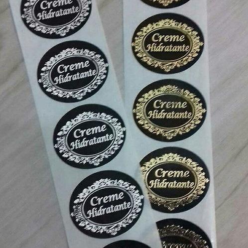 Etiqueta Creme Hidratante preta oval com 100 unid