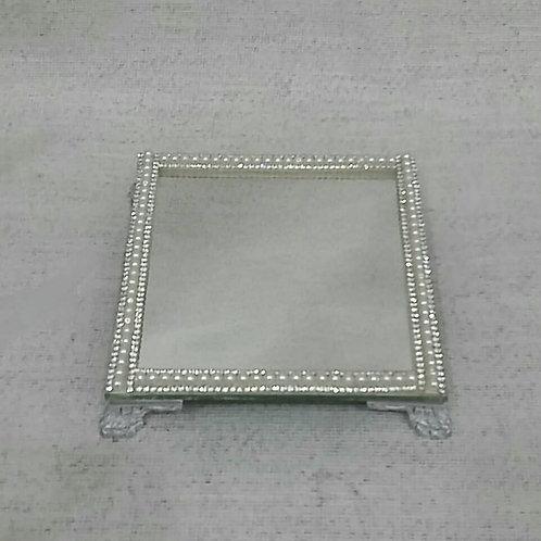 Bandeja Espelho 11 x 11 cm  com manta- 040079
