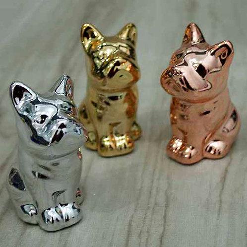 Cachorro Buldog novo decorativo metalizado 050242