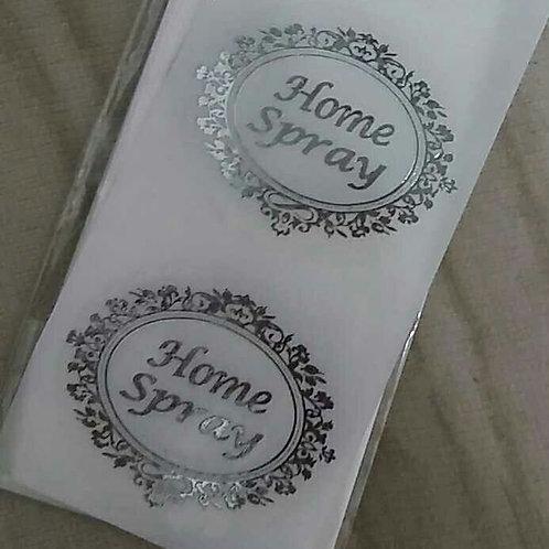 Etiqueta Home Spray transparente oval com 100 unid