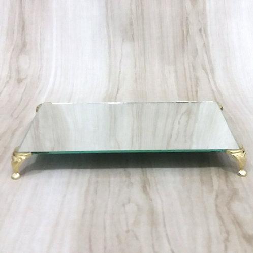 Bandeja Espelho  13x23 cm com Pe Latonado- 040083