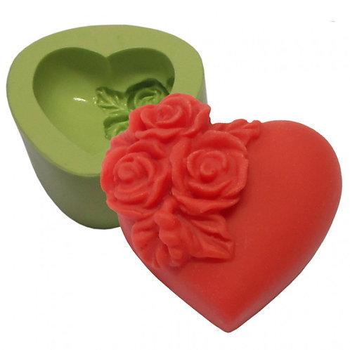 Forma de silicone Coração Pequeno com Flores 166490