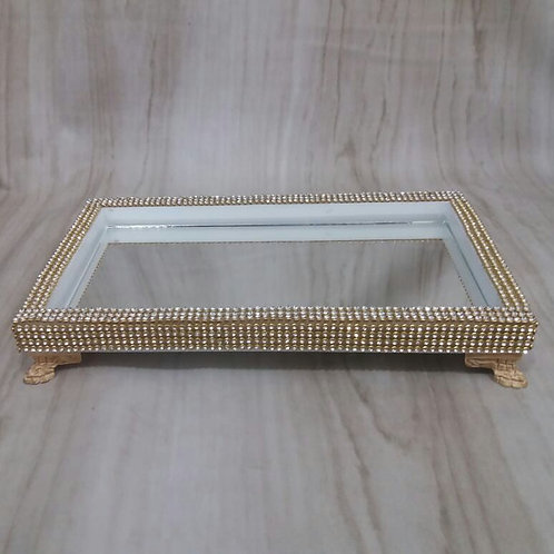 Bandeja mad Strass Ouro 12 x 22 x 2 041044