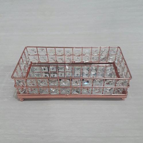 Bandeja Ferro G Retangular c/ Miçanga Rose 20x10 - QA-217