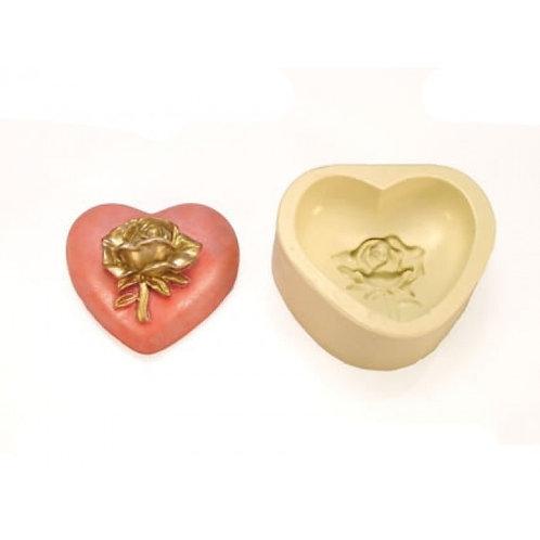 Forma de silicone Coração Com Flor - 162966
