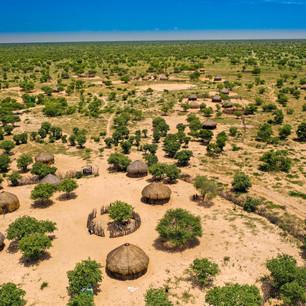 カラハリ砂漠の集落
