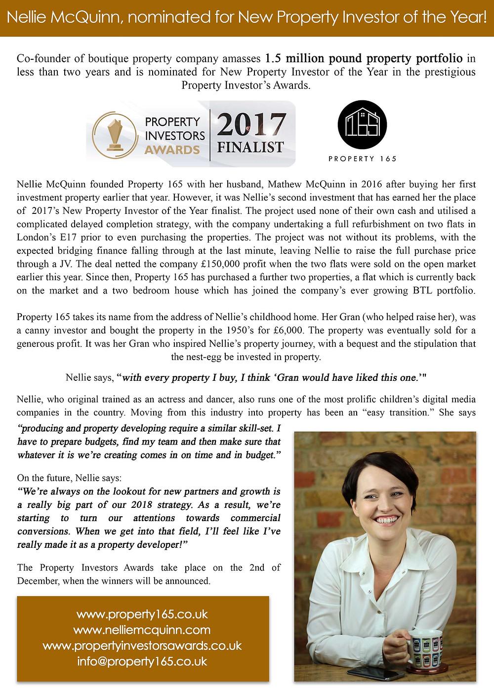 Nellie McQuinn, Property Investors Awards Press Release