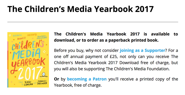 The Children's Media Yearbook - Article by Nellie