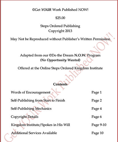 Get YOUR Work Published NOW Booklet