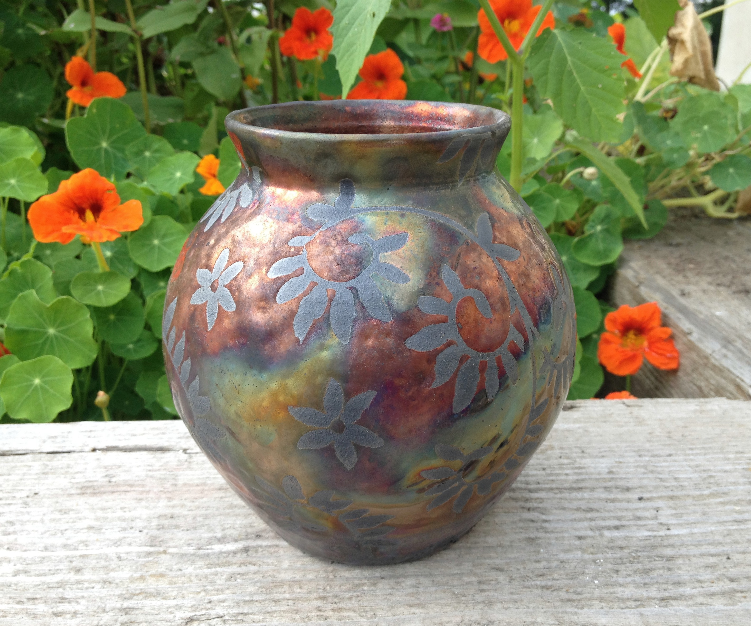 Copper Raku Vase- Botanical Vines