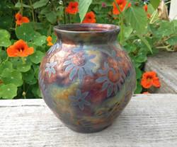 Copper Raku Vase- Botanical Vines