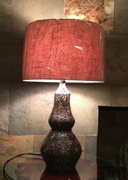Bohemian Speckled Floral Lamp